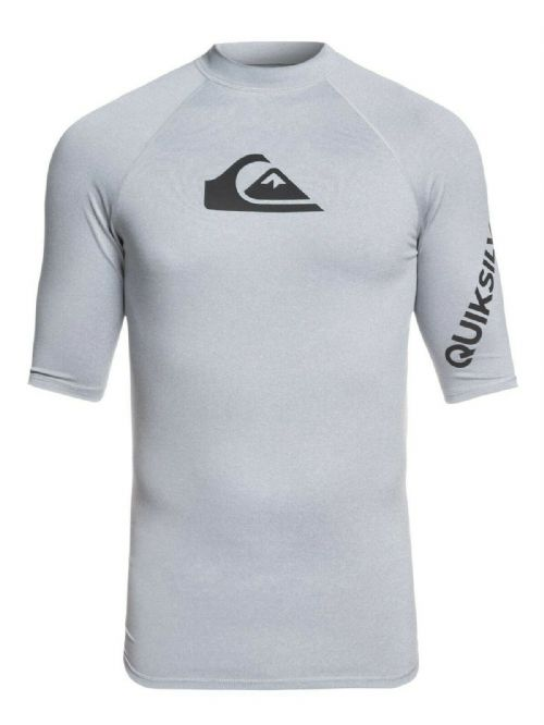 QUIKSILVER MENS RASH VEST.NEW ALL TIME UPF50+ GREY RASHGUARD TOP T SHIRT 9S 36SG